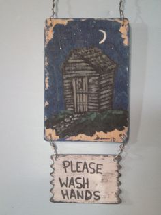 Outhouse Bathroom Decor  Outhouse Wall Hanging  by DemmersArt