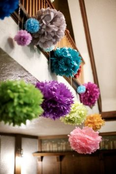pom poms. cute fun and easy to make. I made these for a babyshower & it looked so good!
