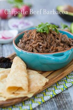 Copycat Chipotle beef barbacoa by Against All Grain| *This is very close to Chipotle's, and reeeeally good! I used brisket, and only 3 of the dried chipotle peppers. Try it, you will not be disappointed.
