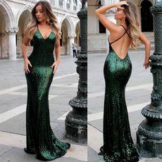 Deep V-Neck Green Sequins Prom Dresses Open Back Theath Evening Dresses Prom fb028c479
