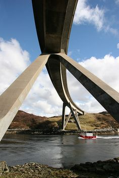 Kylesku Bridge, Sutherland County, Scotland ~ Ove Arup (1984) ~ Prestressed Box Girder Bridge ~ 276 metres / 902 feet ~ Crosses the Loch a' Chàirn Bhàin, connecting Kylestrome and Unapool.