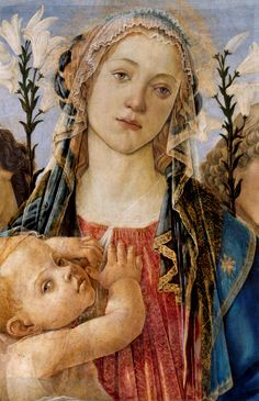 'Mary w/ the Child & Singing Angels' (detail) 1477 -- Sandro Botticelli -- Italian -- Oil on poplar -- Gemäldegalerie, Berlin