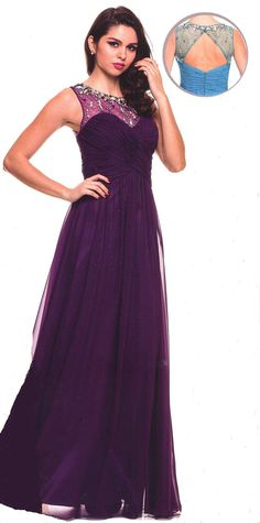 Prom Dresses Evening Dresses under $200<BR>566<BR>Long formal gown sweetheart ruched crisscross bodice, beaded sheer illusion neckline front to open back.