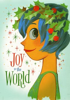 Pixar's Inside Out 2014 Holiday Card featuring Joy.