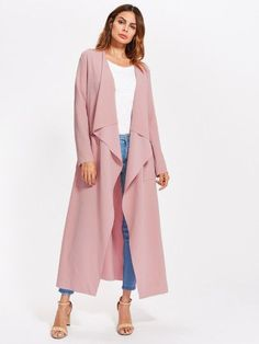 Patch Pocket Self Belted Textured Waterfall Wrap Coat -SheIn(Sheinside)  Belted Coat, 17a7c6ab7fa6
