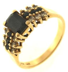 4 Gram 14kt Yellow Gold Ring With Dark Blue Stones And Diamond Accents http://www.propertyroom.com/l/4-gram-14kt-yellow-gold-ring-with-dark-blue-stones-and-diamond-accents/9741546