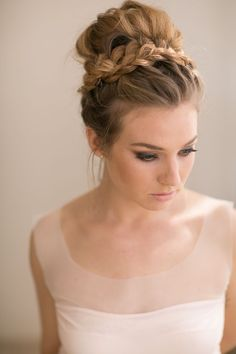 Gorgeous braid with top bun, a perfect bridesmaid look