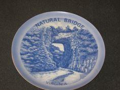 Natural Bridge Virginia Blue Collector Plate Gold Trim  #DH41