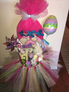 Easy diy troll hair easter basket easter baskets hair bows and my version of the troll easter basket my goddaughter is going to love it negle Choice Image