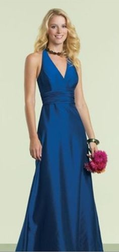 NWT Size 10 WTOO 151 Baltic Blue Shantung long formal halter evening gown Maids
