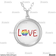 Love Silver Plated Necklace #love #rose #flower #rainbow #romance