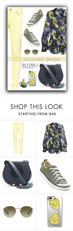 """""""Here Comes the Sun"""" by deaniefrank ❤ liked on Polyvore featuring Great Plains, Erdem, Chloé, Keen Footwear, Ray-Ban, Casetify and coloredjeans"""