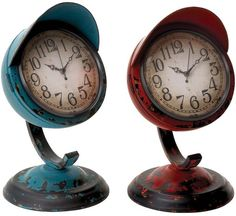Benzara 55448 Table Clock Assorted In Red And Blue Colors - Set Of 2