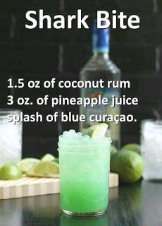 Shark oz coconut rum, 3 ozpineapple juice, and a splash of blue curaçao. - Vegan New Recipes alcohol recipes Shark oz coconut rum, 3 ozpineapple juice, and a splash of blue curaçao. Liquor Drinks, Cocktail Drinks, Alcoholic Beverages, Good Cocktails, Low Sugar Alcoholic Drinks, Halloween Alcoholic Drinks, Best Vodka Drinks, Peach Schnapps Drinks, Green Cocktails