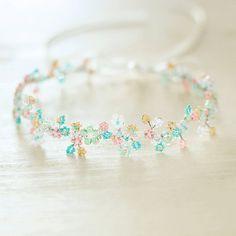 Венок на голову из цветов из бисера - бисер,свадьба,свадебные аксессуары