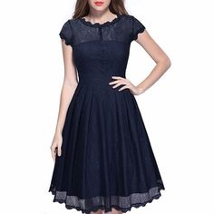 Samtree Lace Dress for Women,Floral Cap Sleeve Cocktail Prom Vintage Swing Dresses(S(fit US 4-6),Navy Blue)
