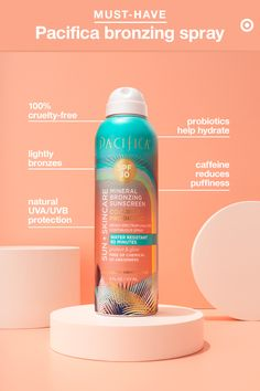 Behold, the sun-and-skin care product that does it all: Tinted Bronzing Continuous Spray from Pacifica. In addition to offering mineral SPF 30 UVA/UVB broad spectrum sun protection, it also gives you a subtle, bronze-y glow (in case your pre-tanned skin i Skin Makeup, Beauty Makeup, Beauty Secrets, Beauty Hacks, Natural Sunscreen, Sensitive Skin Care, Hygiene, Tan Skin, Belleza Natural