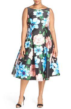 Adrianna Papell Floral Print Tea Length Dress (Plus Size)