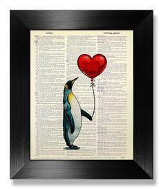 1 erste Jahrestag Geschenk Mann ihm Freund, einzigartige ENGAGEMENT Geschenk Man ihr, Pinguin-Art, Penguin Drucken Dekor Wand Kunst Malerei, Pinguin-Liebe