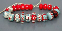 Multi colored etched lamp work bead set made of Murano glass. Set consists of 21 beads from created in turquoise, orange, ivory and black colors. Handmade Lamps, Handmade Beads, Candle Making Business, Candle Store, Lampwork Beads, Crafts To Make, Craft Supplies, My Etsy Shop, Dots