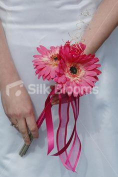 bridal wands | Gorgeous Bright Fuchsia Pink Gerbera Flowergirls Wedding Wand
