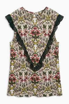 Buy Cream Floral Frill Detail Top from the Next UK online shop