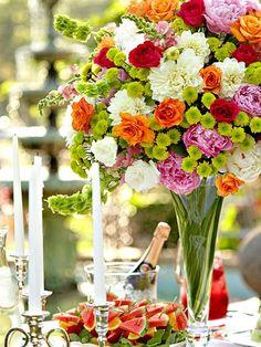 Orange, pink & cream - love this floral arrangement.  #flowers #floral