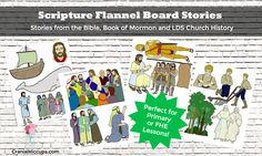 Scripture Flannel Board stories to use in Primary or Family Home Evening! Ready to go - just print and cut out. Great idea for those last minute subs. #LDS #Mormon