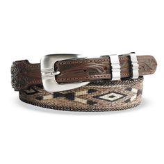 Fine horse hair is hand woven into this handsome, wearable pieces of art. Each color and combination is intricately formed into each design and finished off with tapered leather billets and a german silver removable buckle. | King Ranch Saddle Shop