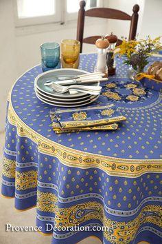 Round Tablecloth Coated (Marat d'Avignon / bastide. lavender bl) - Click Image to Close