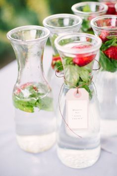 Summer Harvest Wedding from Emily Scannell Photography - Style Me Pretty Wedding Strawberries, Strawberry Wedding, Strawberry Fields, Mint Water, Water Water, Fruit Infused Water, Fruit Water, Infused Waters, Summer Desserts