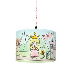 A completed Princess Kingdom Mullan Kids Colour Me Lampshade