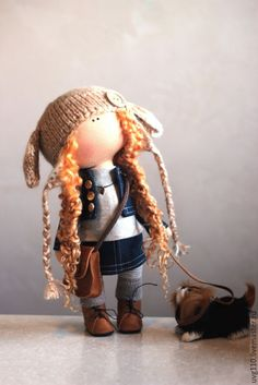 Купить Кукла с собачкой - коричневый, джинсовый стиль, джинса, джинсовая ткань, шапка вязаная