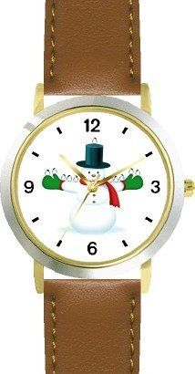 Snowman in Stovepipe Hat and Chickadee Birds 1 - JP - WATCHBUDDY® DELUXE TWO-TONE THEME WATCH - Arabic Numbers - Brown Leather Strap-Size-Children's Size-Small ( Boy's Size & Girl's Size ) WatchBuddy. $49.95. Save 38% Off!