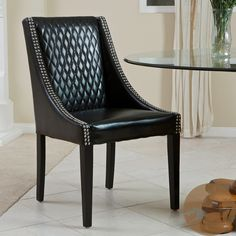 Christopher Knight Home Mandolin Quilted Black Leather Chair (Single)   Overstock.com