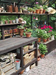 garden shed ideas Cottage Garden Plan, Cottage Garden Design, Veg Garden, Garden Shop, Garden Shed Interiors, Greenhouse Interiors, Greenhouse Shed, Greenhouse Gardening, Potting Station