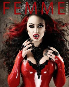 Halloween Issue of @femmerebellemagazine out now!   My Boudoir Latex by @cathouseclothing Hair by @baberska.muah Fangs by @fathersebastiaan #Halloween #danidivine #femmerebelle #latex #vampire #goth