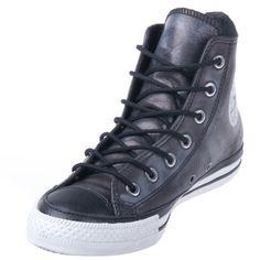 Converse Chuck Taylor 125570C Leather Black/Phaeton Grey Hi Top via Polyvore