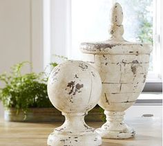 Diy PB Knockoff Cement Finial - made from a recycled bowl, a wood finial & joint compound/spackle. decor, white finish, potteri barn, bedroom furniture, craft idea, barns, paint, pottery barn style, distress white