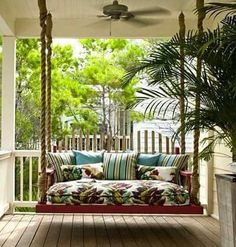 Forget the porch swing, how about a porch bed or a porch loveseat. I've always wanted a porch swing.now I want a porch this! Outdoor Rooms, Outdoor Living, Outdoor Decor, Outdoor Ideas, Outdoor Kitchens, Outdoor Projects, House With Porch, Style At Home, Home Fashion