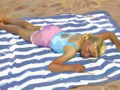 Jeffery T. Larson  (American, b. 1962)  Beach Nap, 2008, o/c