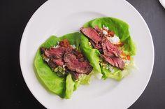 white plate blank slate: Korean beef lettuce wraps
