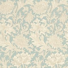 Chrysanthemum Toile (DMOWCH101) - Morris Wallpapers - Based on an original Morris design this is a pretty all over engraved Chrysanthemum floral design. Available in 4 colours – shown in the china blue and cream. Please ask for a sample for true colour match.