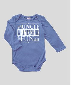 Blue \'My Uncle Will Teach Me\' Bodysuit - Infant
