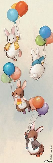 Bunnies floating with balloons. What a cute drawing!