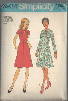 1970s Dress Pattern Vintage Simplicity Misses Size 18 by SelmaLee