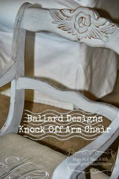 Ballard Designs Casa Florentina Genoa Arm Chair Knock Off with chalk paint, linen seat, and monogram. All for $20
