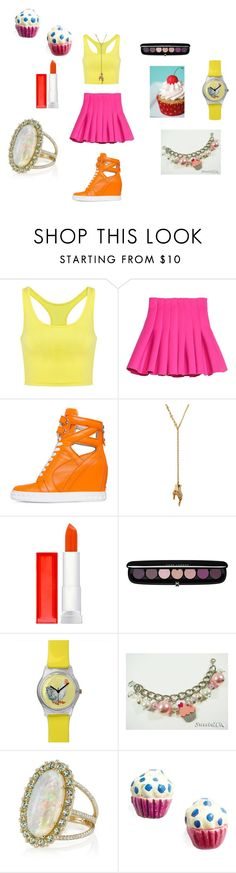 """""""If Toy  Chica was a human."""" by laurie-egan on Polyvore featuring Posh Girl, Maybelline, Marc Jacobs, Sweet & Co., Erica Courtney and Venessa Arizaga"""