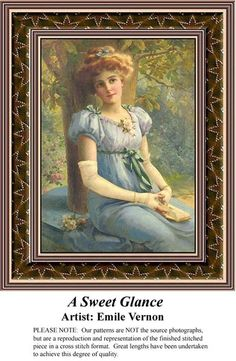 Sunrays Creations Needlearts - A Sweet Glance, Vintage Counted Cross Stitch Pattern. Kit and Digital Download Also Available #crossstitch #123stitch