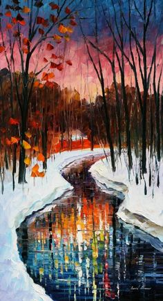 """WINTER STREAM -  PALETTE KNIFE Oil Painting On Canvas By Leonid Afremov -  Size 20"""" x 36"""""""